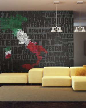 Fototapet - Text map of Italy-1